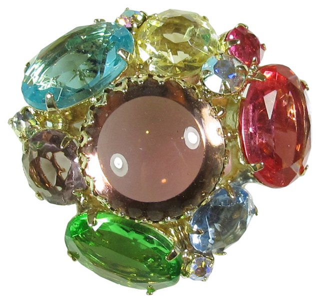 Colorful Glass Cluster Brooch