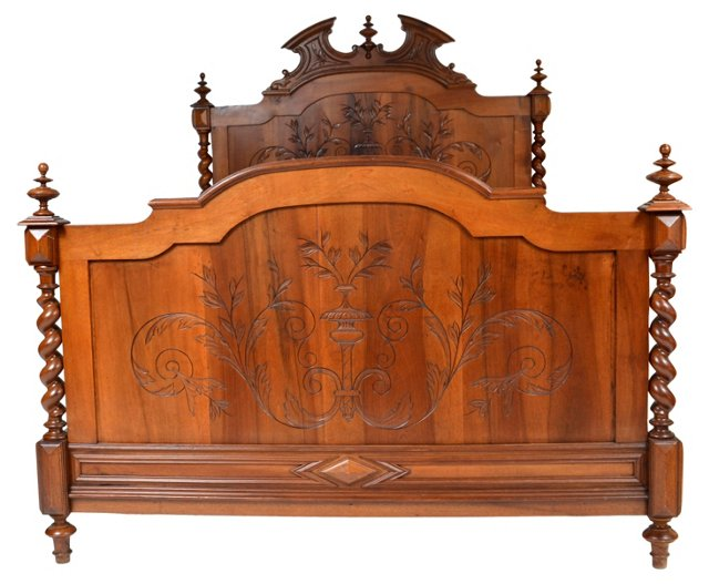 Antique French    Walnut Bed, Queen