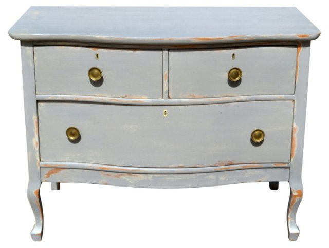 Antique Painted Low   Chest