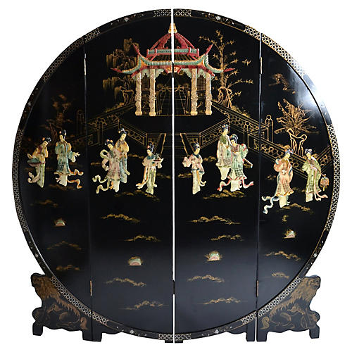 Chinese Round Black Lacquer Screen