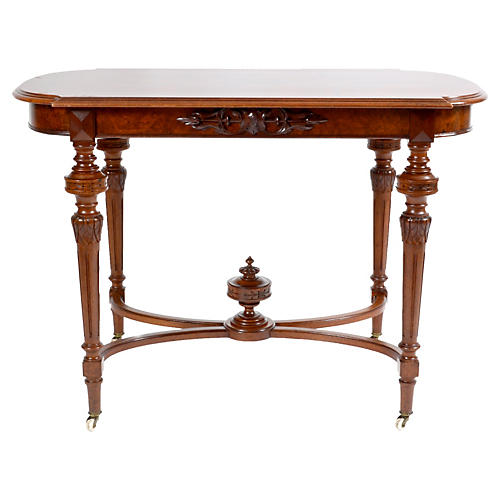 1860s French Burl Walnut Table