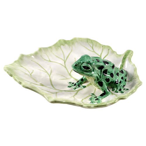 Serving Platter w/ Green Frog, Italy