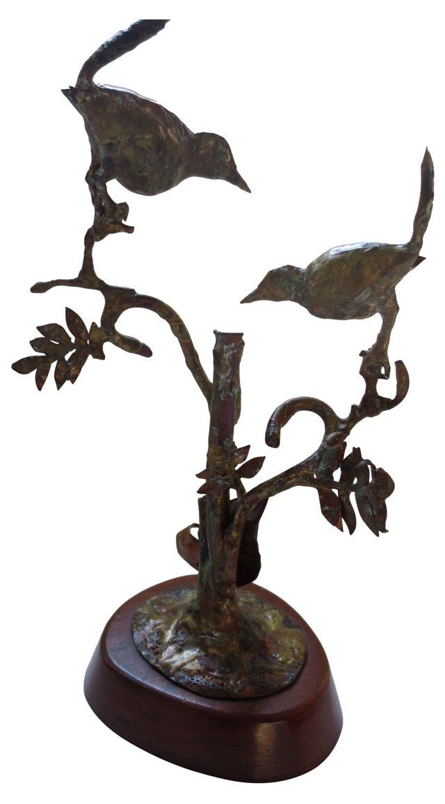 Hand-Formed Brass Tree w/ Birds