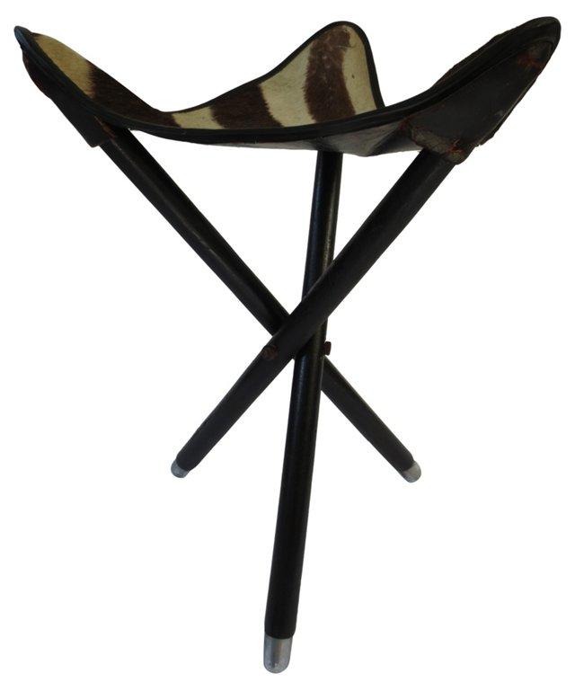 1940s Zebra Campaign-Style Stool