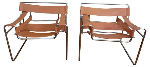 Italian Wassily-Style Chairs, Pair
