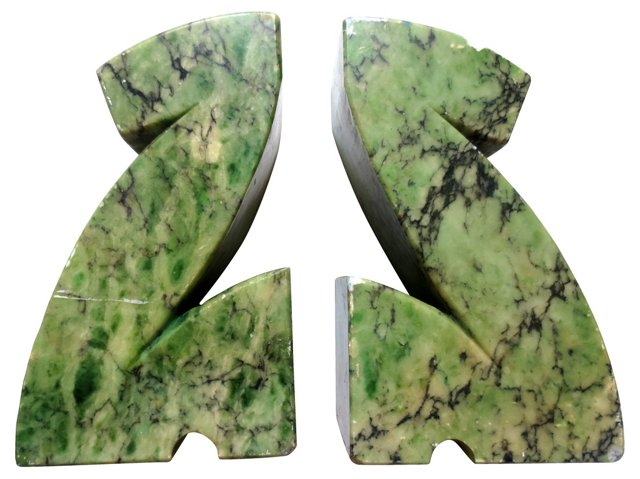 Abstract Marble Bookends
