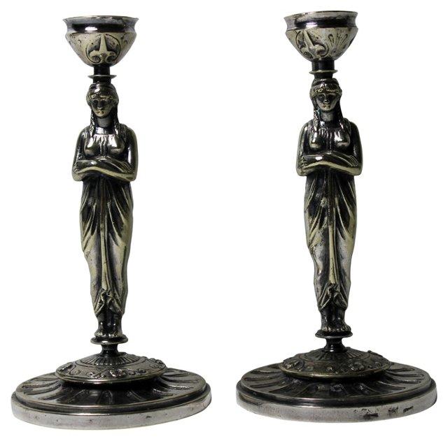 Antique Meneses  Candlesticks, Pair