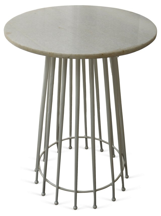 French Marble & Steel Side Table