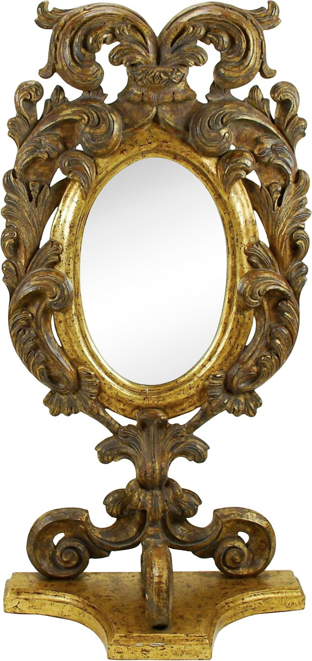 Antique Italian Giltwood Mirror 20""