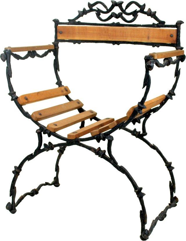 Sculptural Iron Railroad Spike Chair