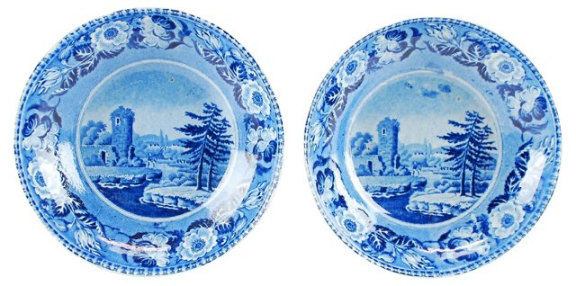 Antique Staffordshire Bowls, Pair