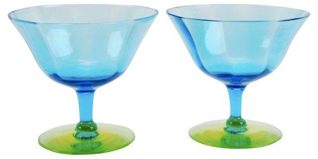 Blown Vaseline Glass Stems, Pair