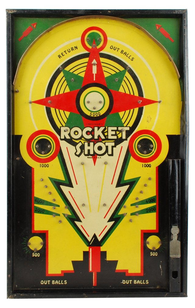 1930s Graphic Rocket Shot Bagatelle Game