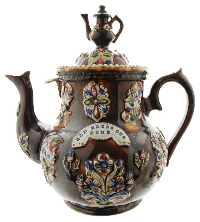 19th-C. Measham Ware Teapot
