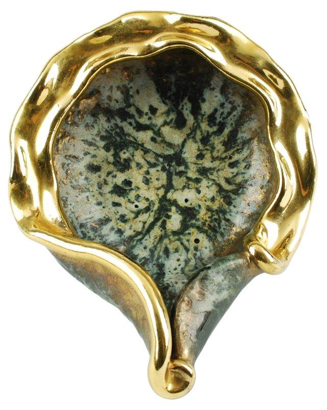 French Modernist Gilt Pottery Bowl