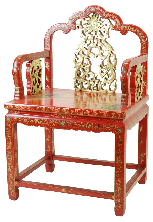 Chinese Carved Red Lacquer Chair