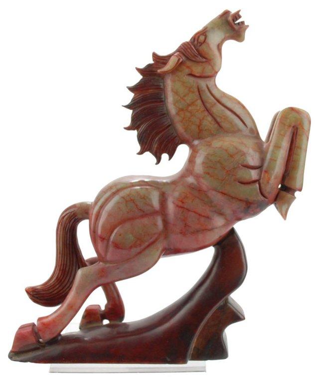 Chinese Carved Black Jade Horse