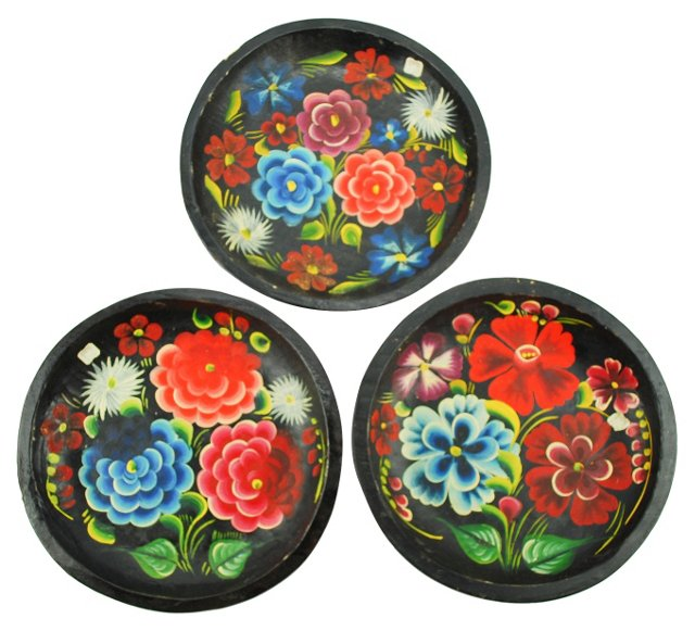 Hand-Painted Mexican Wall Bateas, S/3