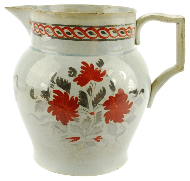 19th-C.  Silver Luster Pitcher