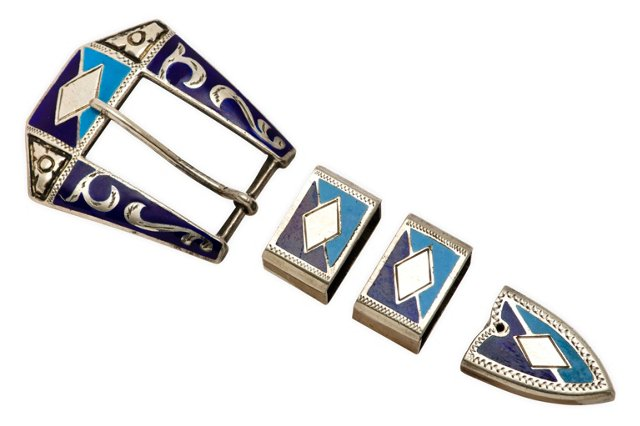 Sterling & Enamel Ranger Buckle Set, S/4