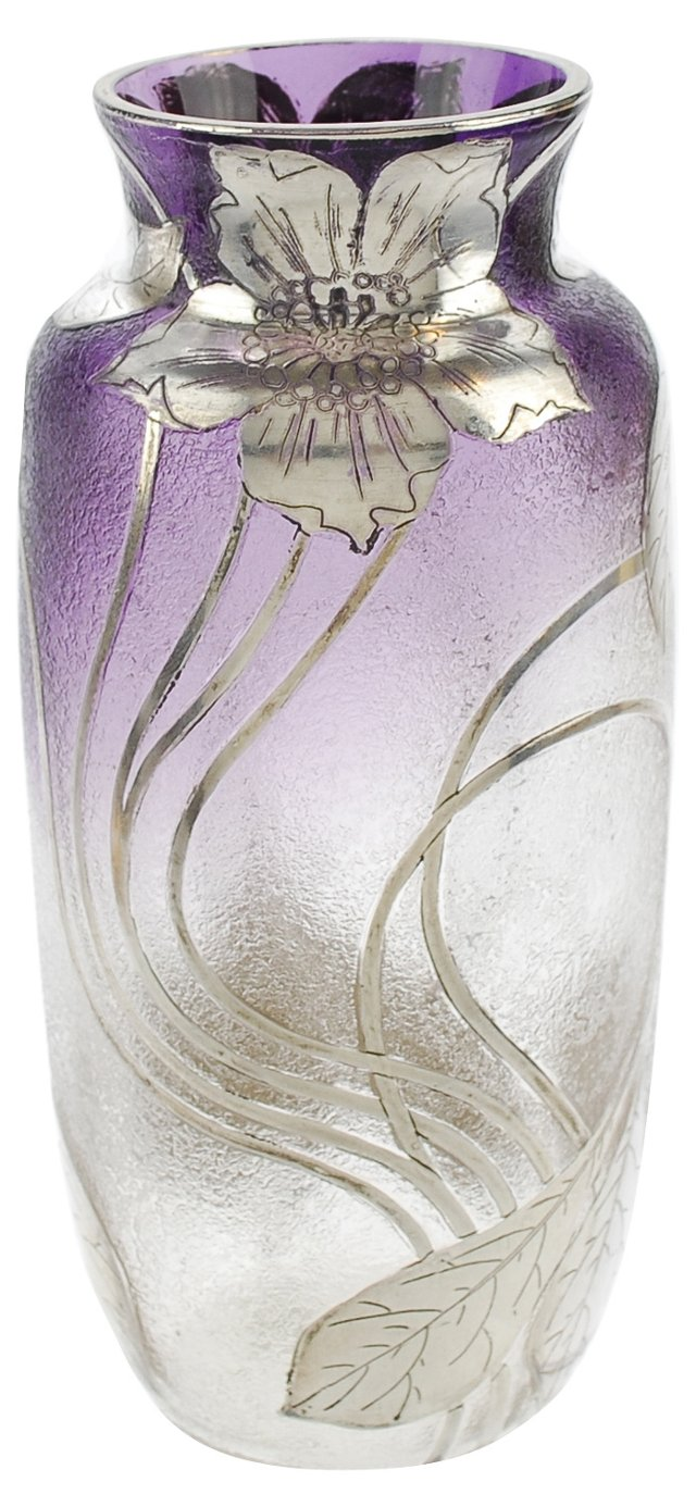 Art Nouveau Sterling Amethyst Glass Vase