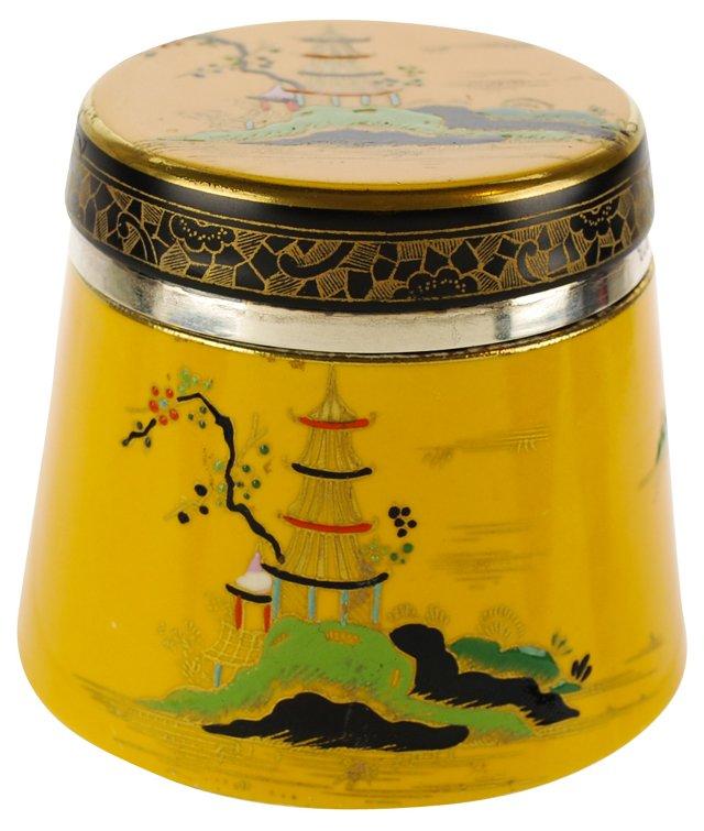 English Sterling & Ceramic Dresser Jar