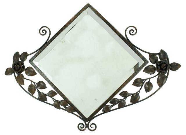 Antique Fer Forge Iron Beveled Mirror