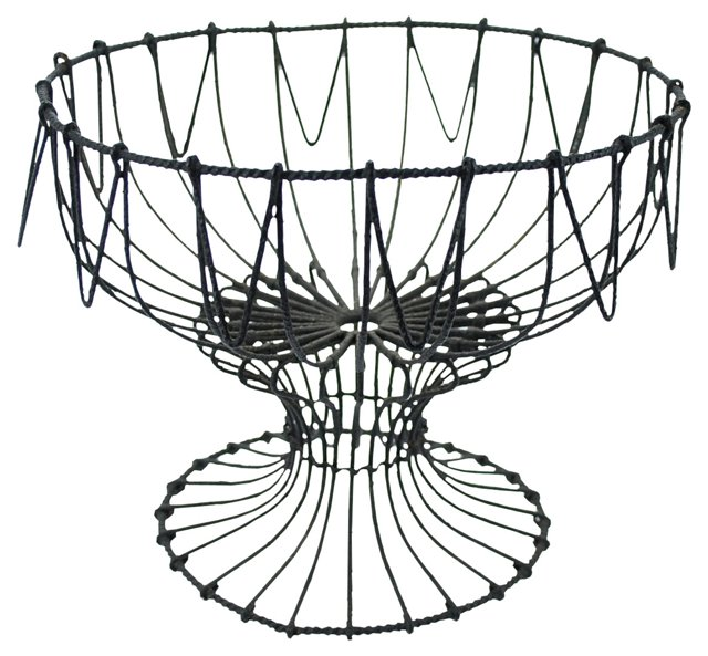 Antique Twisted-Wire Footed Basket