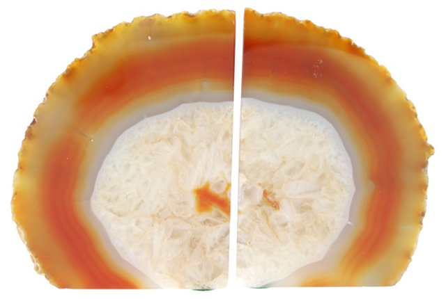 Fiery Pair Polished Geode Bookends