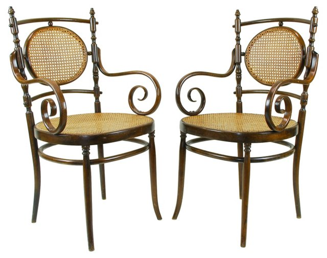 19th-C.  Bentwood Chairs, Pair