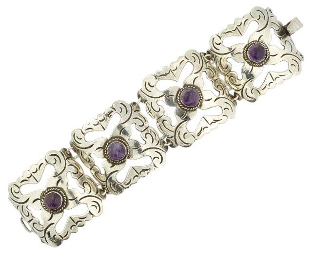 Mexican Sterling & Amethyst Bracelet