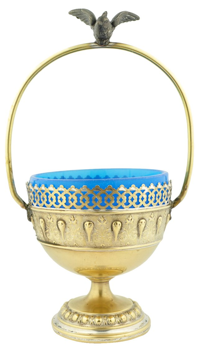 Brass & Opaline Glass Bird Basket