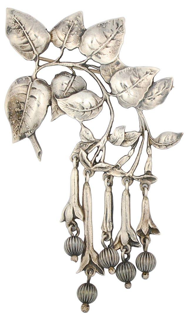 """Cini Sterling Leaf & Flowers Brooch, 4"""""""