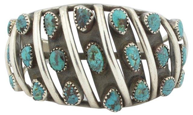Navajo Turquoise & Sterling Niello Cuff