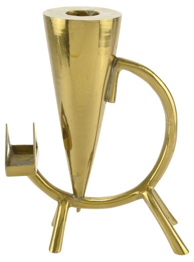 Art Deco Brass Cat Candlestick