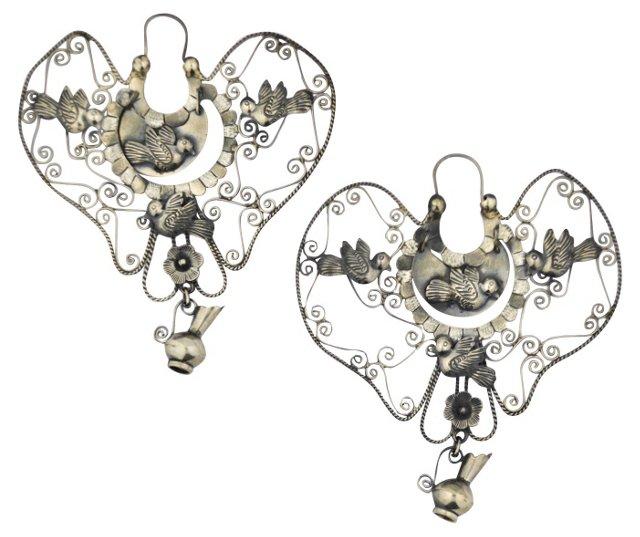 "Mexican Sterling Palomas Earrings 3.5"""