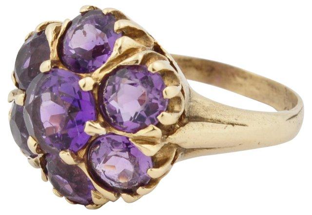 14K Gold Amethyst Cluster Ring