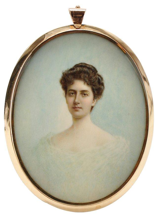 Victorian Porcelain Portrait Pendant