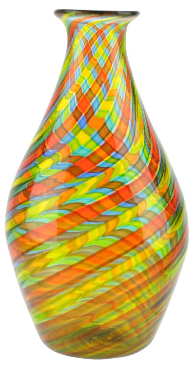 Murano Glass Rainbow Swirl Vase