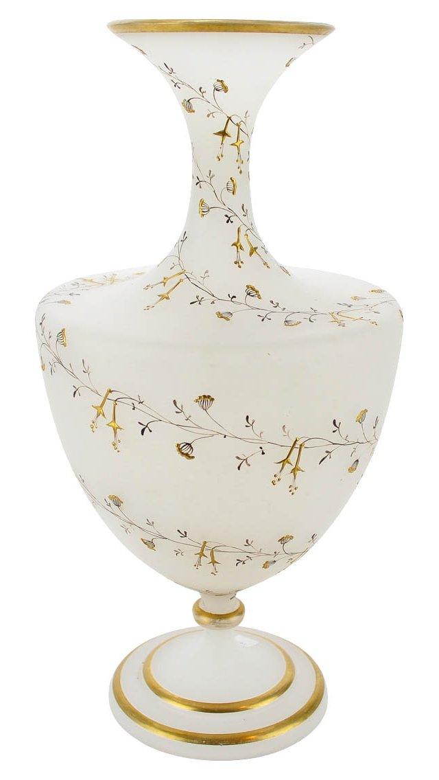 Antique Opaline Gold Enameled Vase
