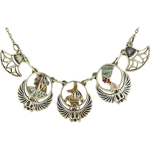 Egyptian Revival Sterling Necklace