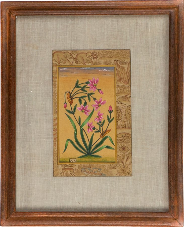 Pink Floral on Manuscript