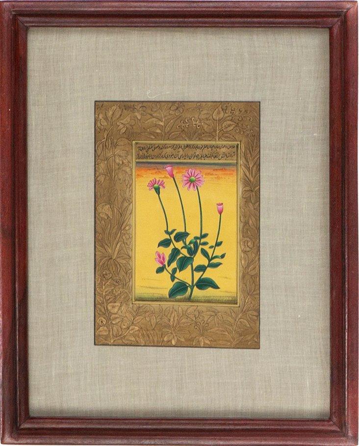 Long Stem Flower on Manuscript