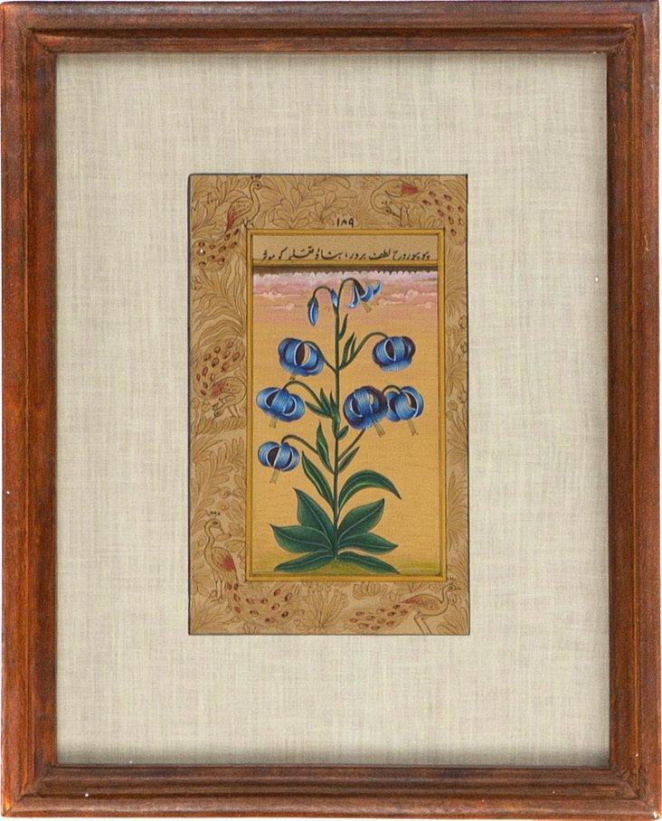 Blue Flower on Manuscript