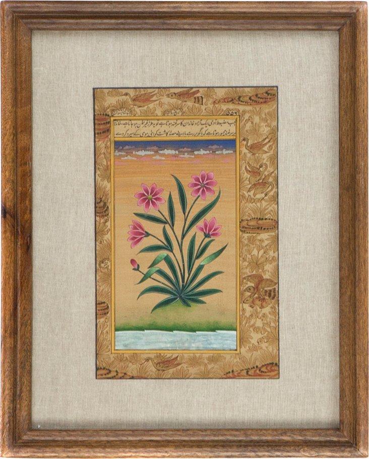 Five Pink Flowers on Manuscript