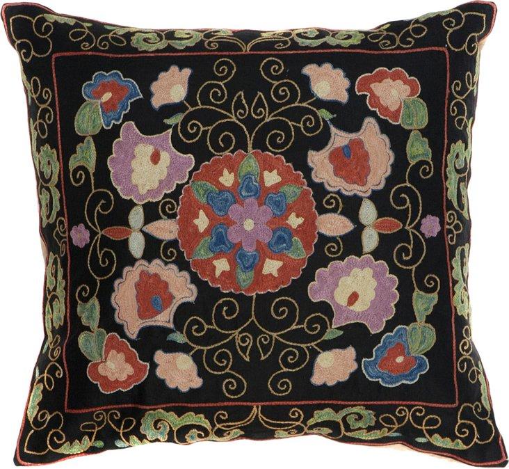 Suzani Pillow, Flowers & Vines