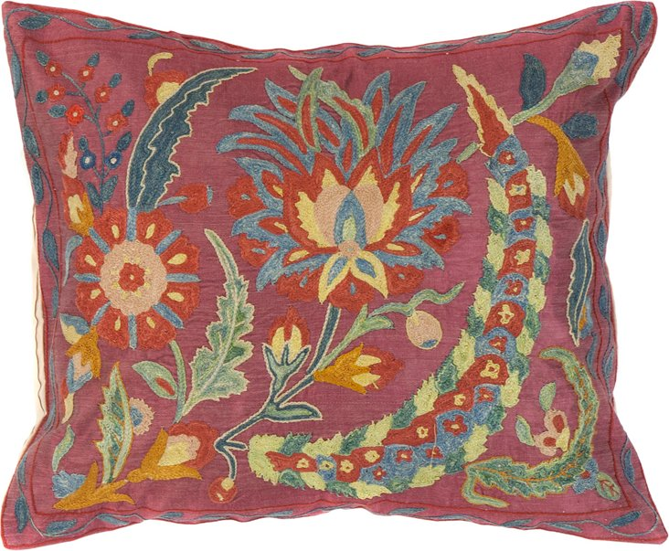 Suzani Pillow, Floral Gathering