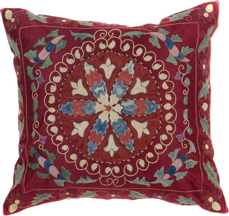 Suzani Pillow, Blue & Red Striped Flower