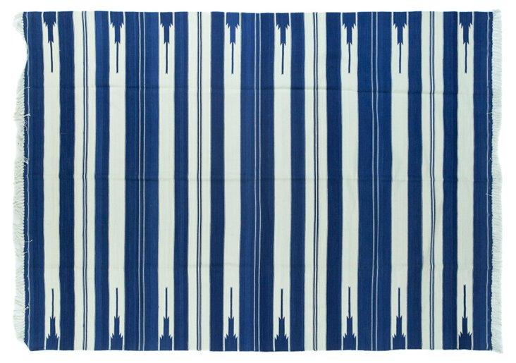Blue &    White Striped Dhurrie, 5' x 7'
