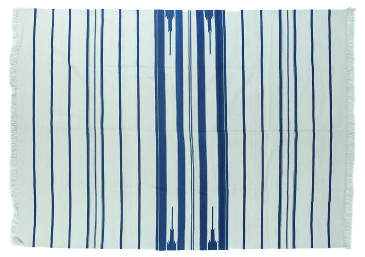Blue &   White Striped Dhurrie, 5' x 7